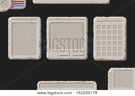 Set of vector stone interface elements for a fantasy game.