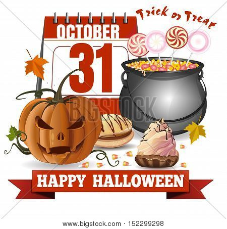 Halloween calendar jack-o'-lantern and a caldron with candies. Trick or treat. Happy Halloween. Vector greeting card