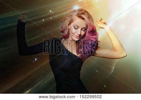 Dancing smiling women. Disco. Trendy colored hair. Glitters