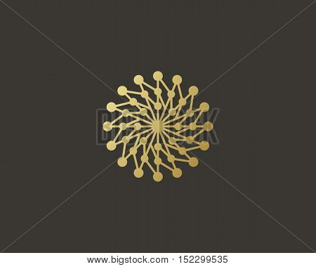 Abstract structure logo design template. Geometric dot hub swirl flower sign. Circle science medicine logotype. Universal energy tech planet star atom app vector icon.