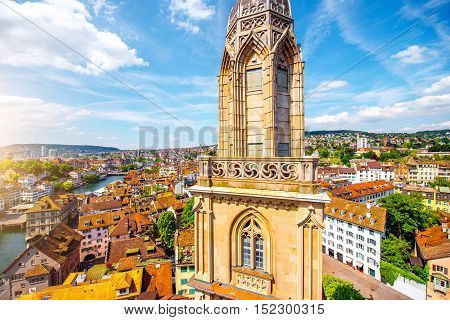 View on the tower of Great Minster church and beautiful cityscape on Zurich old town