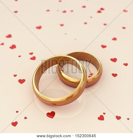 Golden wedding rings on beige background with red hearts , Wedding , 3d illustration