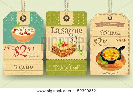 Italian Food - Set of Tags with Risotto Lasagne Frittata in Retro Style. Winter Sale. Vector Illustration.