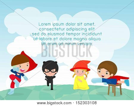 superhero kids at playground, superhero kids playing outside, Template for advertising brochure,your text ,Cute little Superhero Children's, Kids and frame,child and frame,Vector Illustration, kids
