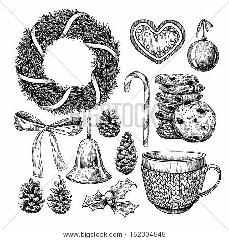 Christmas object set. Hand drawn vector illustration. Xmas icons collection. Holiday engraved decorations. Holly mistletoe wreath fir tree bow bell mug in sweater cookie pine cone xmas ball