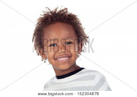 African child making funny faces isolated on white background