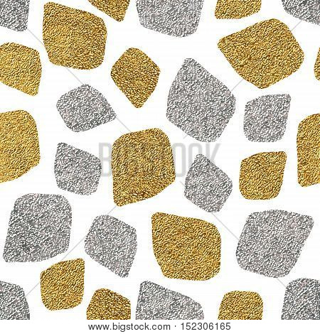 Abstract geometric gold and silver seamless pattern, seamless background of golden and silver mosaic, hand painted vector pattern