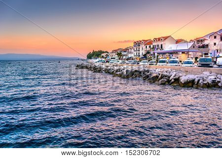View at famous touristic destination in Europe - town Bol in Croatia, Island Brac.