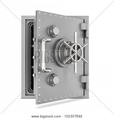 3d rendering of a steel safe box with open door, isolated on a white background. Security storage. Bulletproof and fireproof. Keeping money.