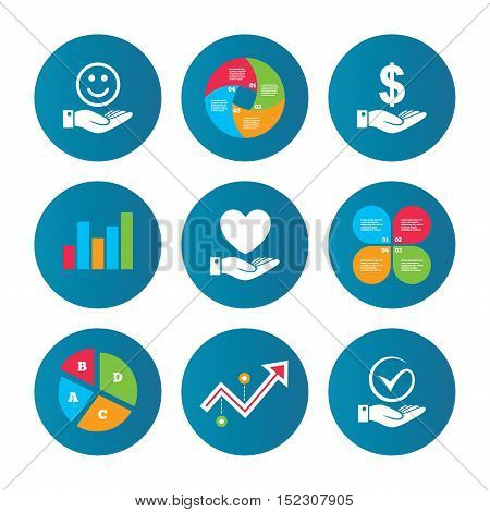 Business pie chart. Growth curve. Presentation buttons. Smile and hand icon. Heart and Tick or Check symbol. Palm holds Dollar currency sign. Data analysis. Vector