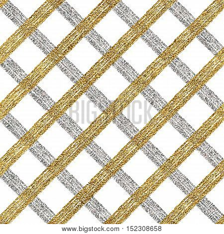 Abstract seamless pattern of gold silver cage, seamless golden silver background of diagonal stripes, lines or strokes