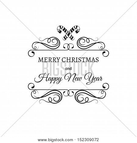 Merry Christmas And A Happy New Year. Greeting Card. Christmas candy stick. Filigree scroll and frame divider decorated. Ornate Frame. Vector Illustration.