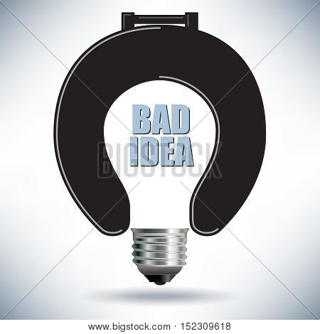 Light Bulb Bad Idea Concept with Toilet Seat for Print or Web