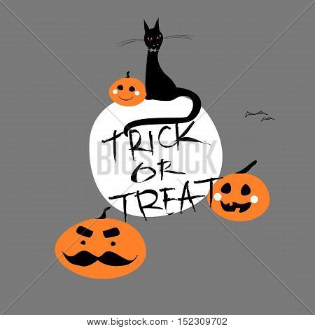 Vector Halloween Poster or Greeting Card with hand written text Trick or Treat and cartoon pumpkins with mustache, cat and bats on a gray background.