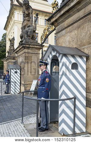 PRAGUE, OCTOBER 15: An honor guard at the post at the entrance to the Presidential Palace in the Prague Castle on October 15, 2016 in Prague, Czech Republic. Prague Castle is the seat of the President
