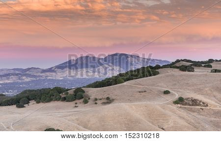 Mt. Diablo Sunset. Contra Costa County, California, USA. Intense Sunset of Diablo Range  from Mott Peak of Briones Regional Park in Martinez.