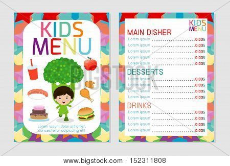Cute colorful kids meal menu vector template, kids menu, Cute colorful kids meal menu design, children menu, menu for kids template, Cafe menu for kids, template design.Vector illustration, menu kids.