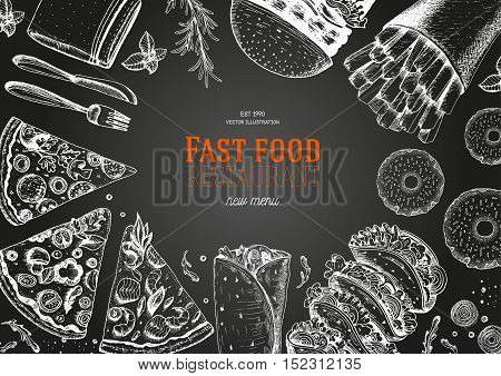 Fast food top view frame. Fast food banner snack collection. Vintage vector illustration. Drawn in ink. Set of fast food junk food.