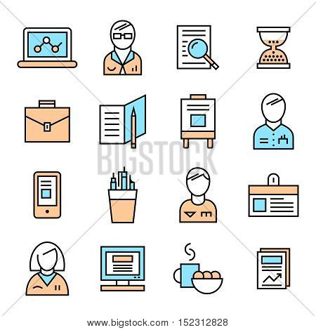 Colored coworking icon set with isolated attributes in linear style on white background vector illustration