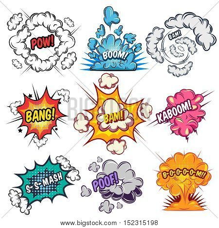 Comics explosion effects set with typographic letterings and clouds of different shape and color isolated vector illustration