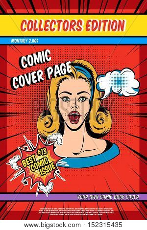 Comic book cover page with pretty woman and speech bubbles on red textured background vector illustration