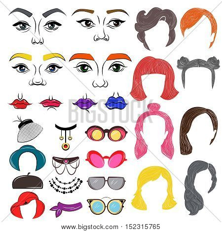 Female faces colored constructor with hairstyles lips hats of different shape and glasses bijouterie isolated vector illustration