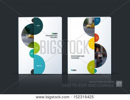 Brochure template layout, cover design annual report, magazine, flyer in A4 with half spheres and rounds for business and finance, shopping concept. Abstract vector design with leaflet mock-up.