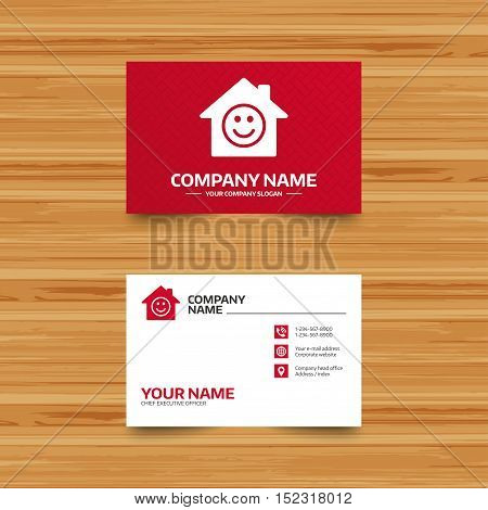 Business card template. Comedy club. Smile icon. Happy face chat symbol. Phone, globe and pointer icons. Visiting card design. Vector