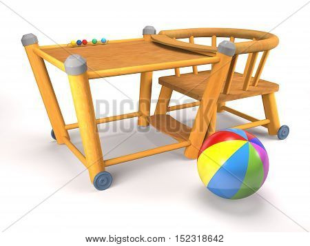 Children's wooden folding chair and ball on white background (3d rendering).