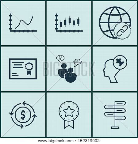Set Of 9 Universal Editable Icons For Education, Travel And Statistics Topics. Includes Icons Such A
