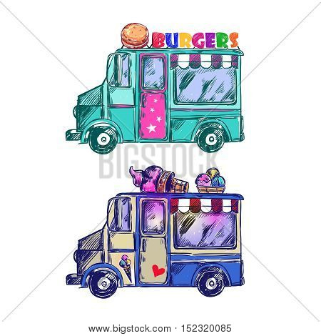 Colored food truck sketch with two icons truck burgers and ice cream vector illustration