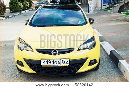 SOCHI RUSSIA - APRIL 29 2016: Opel Astra parked on the streets of Sochi. Opel Astra front view.