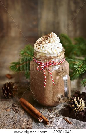 Hot Chocolate With Wipped Cream In A Mason Jar.