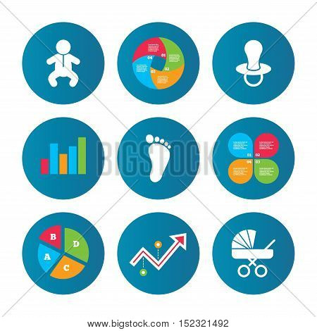 Business pie chart. Growth curve. Presentation buttons. Baby infants icons. Toddler boy with diapers symbol. Buggy and dummy signs. Child pacifier and pram stroller. Child footprint step sign. Vector