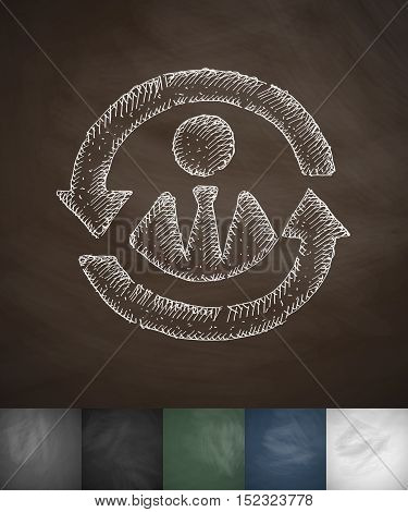versatile worker icon. Hand drawn vector illustration. Chalkboard Design