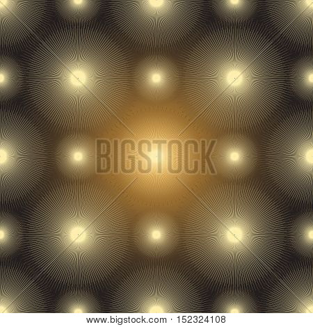 Seamless pattern with gold glowing spots on a dark background vector