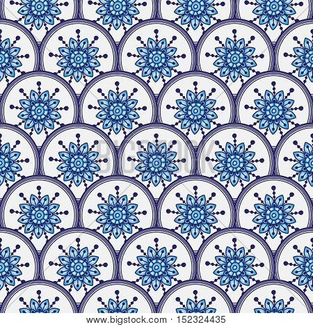 Seamless pattern of circles with blue gradient flowers in the style Gzhel vector