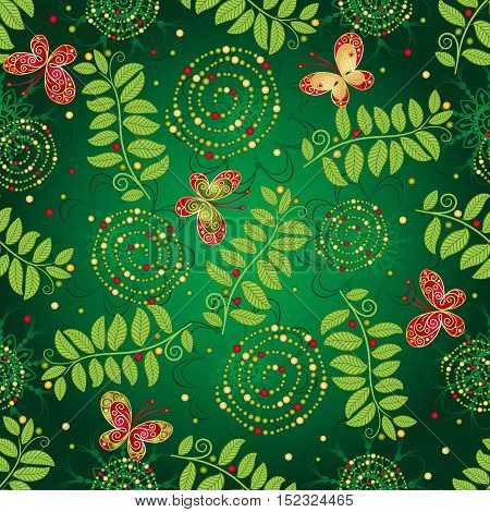 Seamless green gradient pattern with leaves butterflies and spirals vector