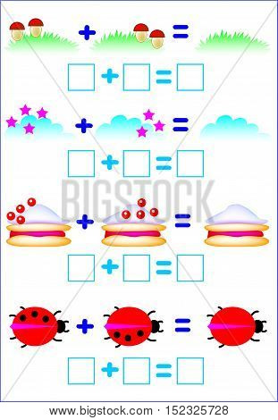Educational page for children with exercises on addition. Developing skills for counting and writing. Vector image.