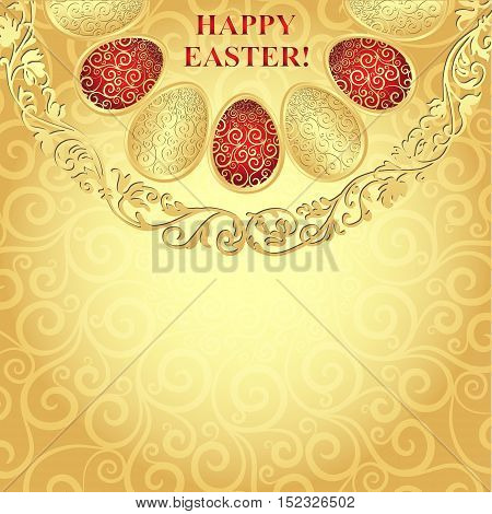 Easter golden frame with gradient lacy eggs vector eps10