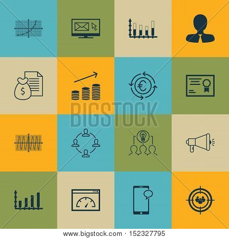 Set Of 16 Universal Editable Icons For Seo, Project Management And Marketing Topics. Includes Icons