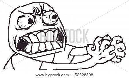Vector anger meme face for any design. Isolated eps 10