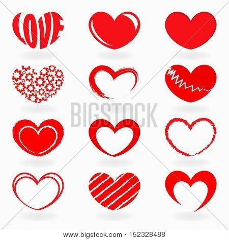 Red heart shapes isolated on white background vector set. Heart icons collection