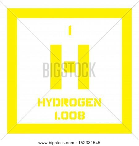 Hydrogen chemical element. Colored icon with atomic number and atomic weight. Chemical element of periodic table.