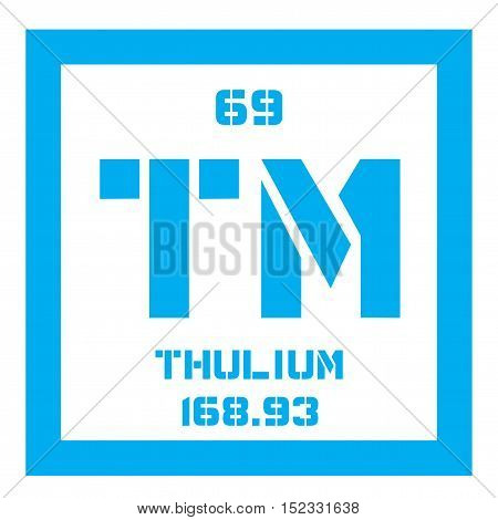 Thulium chemical element. Colored icon with atomic number and atomic weight. Chemical element of periodic table.