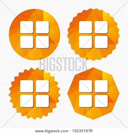 Thumbnails sign icon. Gallery view option symbol. Triangular low poly buttons with flat icon. Vector