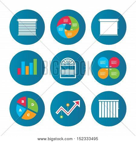 Business pie chart. Growth curve. Presentation buttons. Louvers icons. Plisse, rolls, vertical and horizontal. Window blinds or jalousie symbols. Data analysis. Vector