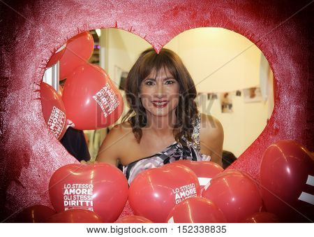 Bologna, Italy - October 15, 2016: Former member of Italian parliament, transgender actress and political activist Vladimir Luxuria posing to photographers at the opening ceremony of the second Gay Wedding Expo which is held at the fair of Bologna.