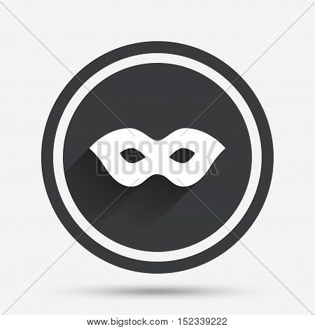 Mask sign icon. Anonymous spy access symbol. Circle flat button with shadow and border. Vector