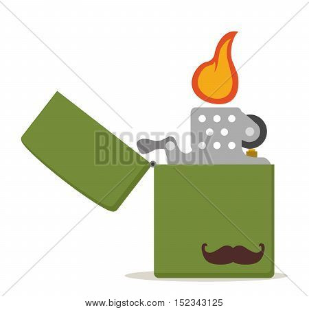 Green metal lighter with moustache icon, hipster